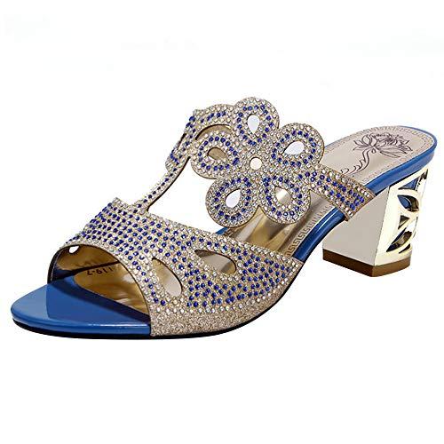 Mediffen Mujer Clásica Peep Toe Mulas Zapatillas con Tachuelas Bohemia Sandalias Sin Cordones Verano Casual Exterior Zapatillas Zapatillas Sandalias Azul Talla 38 Asiática (Ropa)