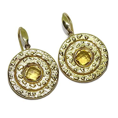 Impresionantes Pendientes de oro amarillo de 18k con piedra de color, grandes con cierre gancho. 7.80gr de oro de 18k
