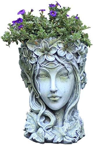 Sculptuur Nordic Venus Standbeeld Yard Planter Cement Vaas Figurine Home Garden Griekse godin Hoofd van de Bloem Pot decoratie grote Succulent Craft, style3, wit, Style4-groen (Color : Style4-green)