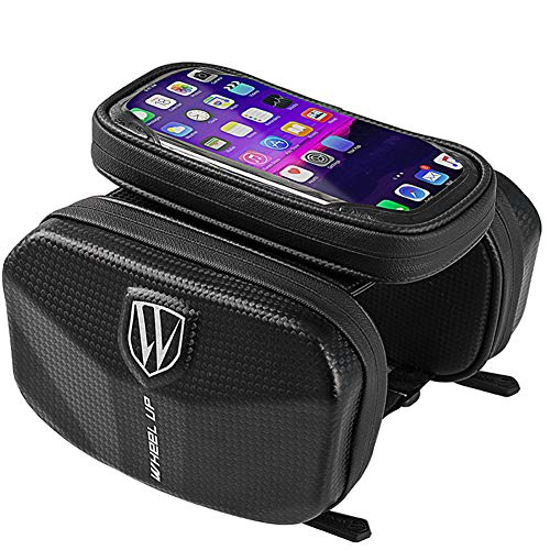 Bike Frame Bag Waterproof, Bike Handlebar Bags, Bike Phone Holder with Touch Screen for Mountain Racing Bikes Suitable for Smart Phone Up to 7.0 inch