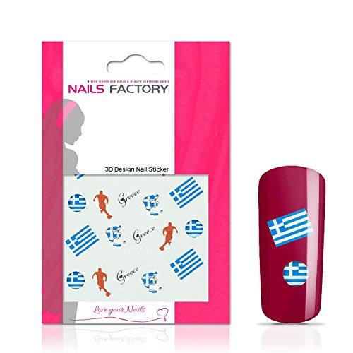 N&BF Nail Art Nagelsticker Fußball | Soccer Nagelaufkleber Greece/Griechenland | Griechische Flaggen Sticker für Kunstnägel und Naturnägel | 3D Nageltattoos für WM & EM | Länder Fahnen Transfersticker