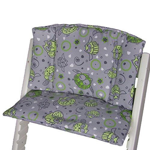 Babys-Dreams zitkussen pad zitkussenset voor stokken Tripp Trap hoge stoel (Grijs Groen Dikke Uilen§11)