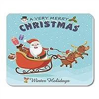 マウスパッド雪漫画ヴィンテージクリスマスデザインフクロウサンタクロースそりとトナカイキャラクターラベルマウスマットマウスパッドノートブックデスクトップコンピューターに適したマウスパッド