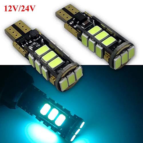 Ruiandsion Lot de 2 ampoules LED T10 194 168 Canbus super lumineuses 12–24 V pour intérieur de voiture, plafonnier, carte, porte, plaque d'immatriculation, bleu glacier