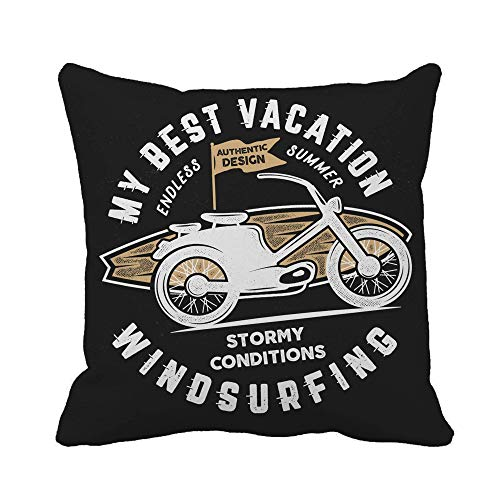 N\A Throw Pillow Cover Vintage Windsurf Graphics Summer Travel Retro Tabla de Surf y Funda de Almohada para Motocicleta Funda de Almohada Cuadrada Decorativa para el hogar Funda de cojín