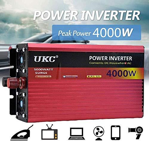 XZJDM Inversores de Alta Potencia de 2500W / 3000W / 4000W, DC 12V / 24V / 48V / 60V a AC 220V, Convertidor de Voltaje Convertidor de inversor senoidal con enchufes y conexión USB, Adecuado para