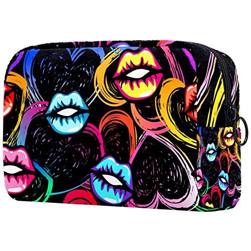 Kiss Lèvres et Coeurs Dessin Dans Pop StylePortable Maquillage Sacs Imprimés Cosmétiques Sac Cosmétique Sac de Voyage pour Femmes
