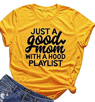 JINTING Mom Shirt for Women Funny Letter Print Shirt Funny Cute Graphic Mom Tee Shirts with Saying