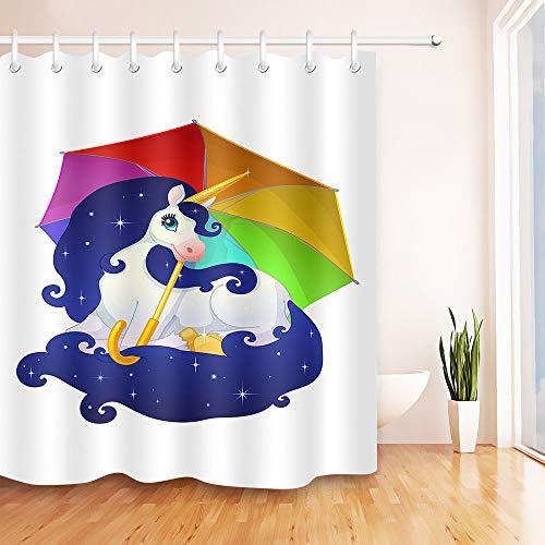 123456789 regenboog paraplu eenhoorn waterdichte stof bad douchegordijn haken Set 60/72