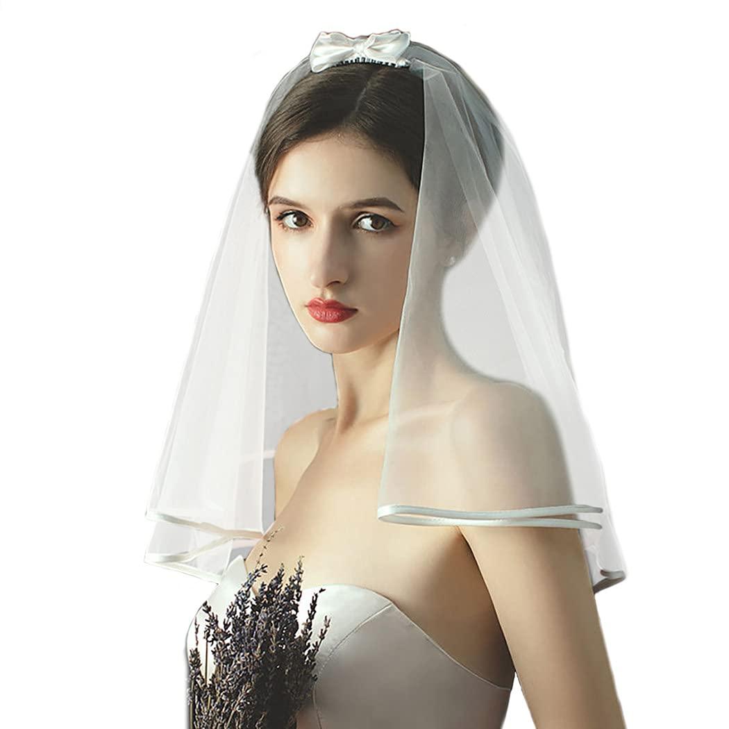 Yokawe Bride Wedding Veil 2 Tier Fingertip Length Short Bridal Tulle with Comb Ribbon Edge Hair Accessoies