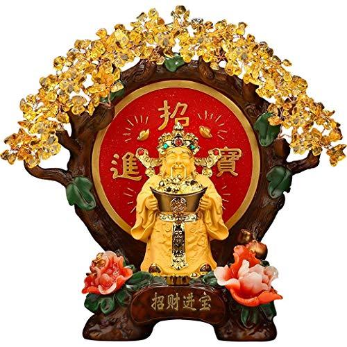 CZXKJ Árbol del Dinero Bonsai Feng Shui Cristales Amarillos árbol Dinero Envuelto en Feng Shui Suerte Figura de Resina Base Bonsai árbol del Dinero for la abundancia y la Suerte Árbol del Dinero