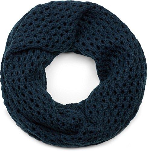 styleBREAKER sciarpa scaldacollo in maglia traforata, sciarpa ad anello in maglia traforata a tinta unita, sciarpa invernale in maglia, unisex 01018156, colore:Blu scuro