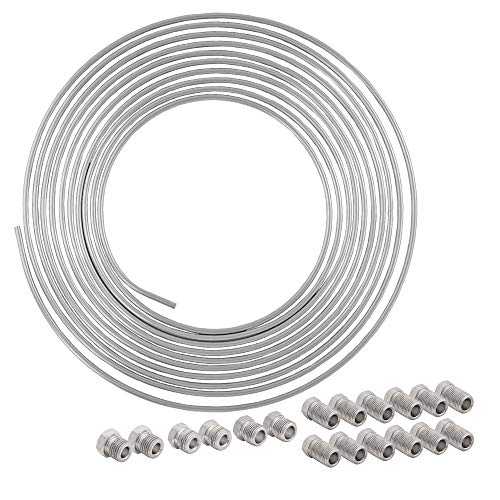 4LIFETIMELINES 25 ft 1/4 Stainless Steel Brake Line Replacement Tubing Coil and Fitting Kit, 16 Fittings Included, Inverted Flare, SAE Thread, 0.028 inch wall thickness