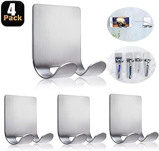 Razor Holder For Shower Self Adhesive Hooks Wall Hanger Stainless Steel Shower Phone Holder Shave Razor Hook Stand Bathroom Kitchen Organizer-4 Packs