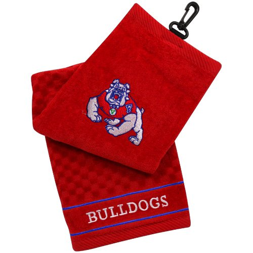 Team Golf NCAA Fresno State Bulldogs Embroidered Golf Towel, Checkered Scrubber Design, Embroidered Logo