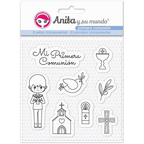 Anita y Su Mundo Primera Comunión Niño Sellos, Azul, 16,7x12cm, 8
