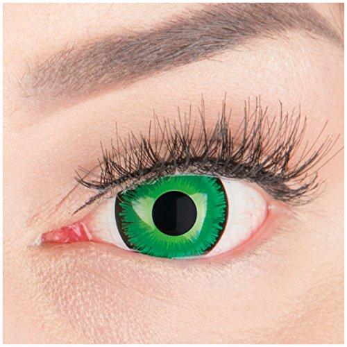 Shining Farbige Funnylens Crazy Fun grün schwarz mit Rand mini Sclera Kontaktlinsen 17mm. Perfekt zu Fasching, Karneval Halloween Anime Manga oder zum Alltag mit Behälter Topqualität