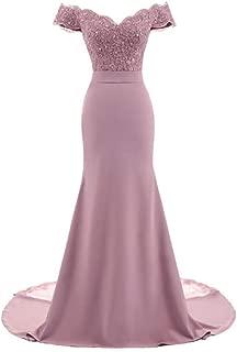 SHANGSHANGXI Women Mermaid Wedding Party Dress Sleeveless Off The Shoulder Prom Evening Dress