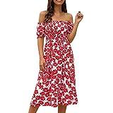Mujer Summer Floral Bohemia Correa de Espagueti Abotonado Vestido Midi Swing con Bolsillos (1# Rojo, XL)