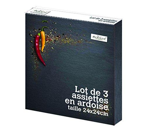 Piastre Ard'time LT3CA24 Set di 3 Naturale Ardesia 24 x 24 cm