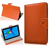NAUC Tasche Hülle für ODYS Ieos Quad 10 Pro Schutzhülle Tablet Cover Hülle Bag Etui, Modellauswahl:Bronze Carbon-Erscheinungsbild Magnetverschluss
