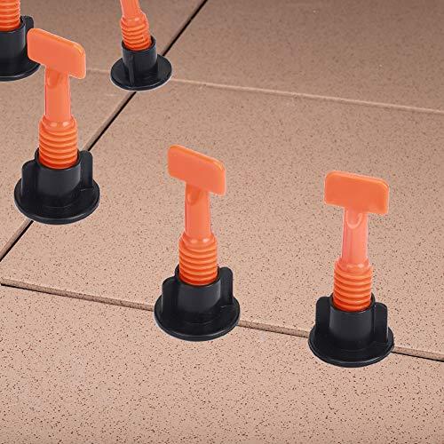 Fliesen-Nivelliersystem-Kits, 50 Stück, wiederverwendbare Fliesen-Nivellierer für Bauwände, Böden, Fliesen-Abstandhalter mit Spezialschlüssel, Wandfliesen-Positionierungsregler