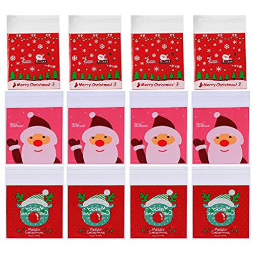 Toddmomy 300 Pzas Bolsas de Dulces con Tema Navideño Bolsa de Regalo Autoadhesiva con Patrón de Santa Reno Celofán Bolsas de Plástico para Galletas para Regalos de Fiesta de Navidad