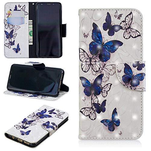 HCUI Compatible avec Galaxy S9 Coque Cuir Étui Wallet Housse, Portefeuille de Protection Coque avec Fonction Support Magnétique Pochette Antichoc Coque pour Galaxy S9 - Papillon.