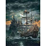 jigsaw puzzles 1000 pieces for adults and Kids Wooden Pirate Ship Pattern Family Interactive Games Christmas Halloween Gift Decoration Great Holiday Leisure 29.5in x 19.7in(75cm x 50cm)