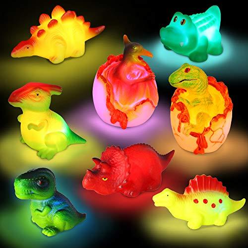 yoliyogo Dinosaurier-Badespielzeug mit blinkendem Licht, schwimmendes Duschspielzeug, Set mit 8 Tieren, Tempran-Modell, Dinosaurier, Badewanne, Spielzeug, Geschenk für Kinder