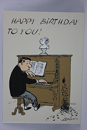 Postkarte A6 • 080 ''Klavierspieler'' von Inkognito • Künstler: LORIOT DESIGN GMBH © Loriot • Geburtstag