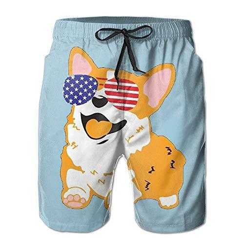 Quick Dry mannen Corgi Amerikaanse vlag Patriottische zonnebril Beach Shorts zwemmen Trunks Board Shorts Welke Pocket