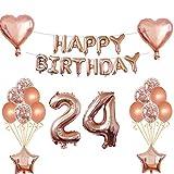Oumezon Kit de décorations d'anniversaire 24 ans Doré rose Décorations d'anniversaire pour filles et garçons avec guirlande de ballons «Happy Birthday» et ballons gonflables