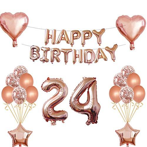 Oumezon 24 Geburtstag Mädchen Dekoration Rose Gold, 24. Geburtstag deko für Mädchen Jungen Happy Birthday Girlande Banner Folienballon Konfetti Luftballons Deko Geburtstag Party Anzahl Ballons