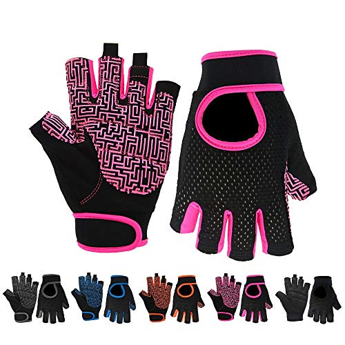 Liaiqing Kühle Stoßdämpfung Half-Finger Mountain Bike Fitness Guantes Deportes al aire libre escalada Trainingsbreathable Anti-Rutsch-Fitness-Handschuhe (Color: Rosa, Siz: Large)