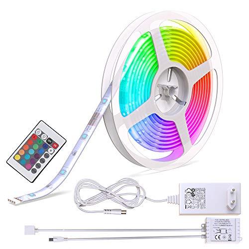 B.K.Licht ruban LED 5m, guirlande lumineuse extérieur, avec télécommande, lumière décorative blanche et multicolore, 16 couleurs, dimmable, adhésif