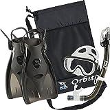 IST Orbit Snorkeling Gear Set: Tempered Glass Mask, Dry Top Snorkel & Trek Fins for Compact Travel