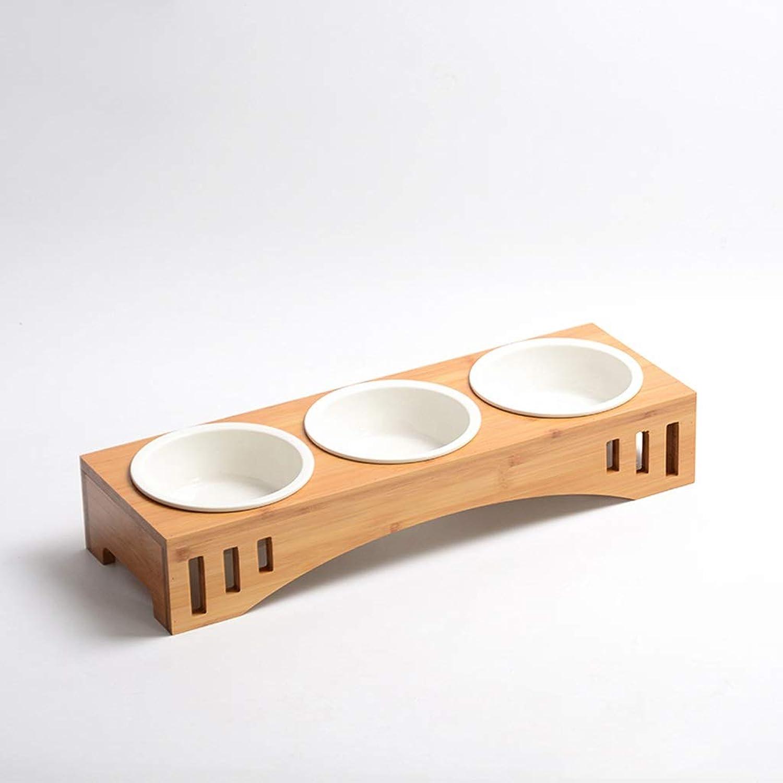 CXQ Dog Bowl Cat Bowl Drinking Water Bowl Solid Wood Dining Table Three Ceramic Bowl Cat Food Dog Food Bowl Pet Supplies