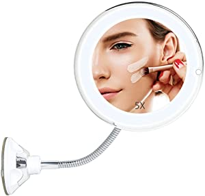 Makeup Vanity Mirror with Lights, Flexible Portable Gooseneck Lighted 5 X Magnifying Round Makeup Mirror with Powerful Suction Cup, 360 Degree Rotation, Good for Travel Home Tabletop Bathroom Shower