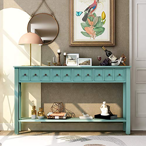 P PURLOVE 60 Inch Console Table SofaTable with 4 Drawers EntrywayTable with Bottom Shelf for Living Room,Bedroom