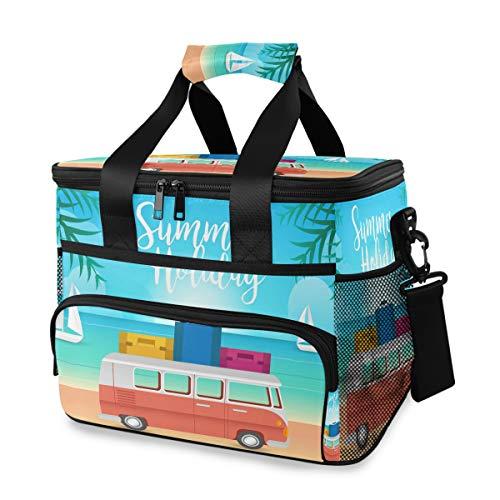FANTAZIO Isolierte Lunchtasche, VW-Bus und Strand, wiederverwendbare Kühltasche für Picknick, Strand, 15 l