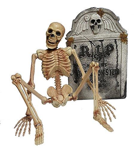Halloween Horror Deko Skelett und Grabstein Megaset