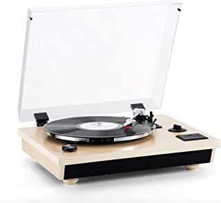 Rcm Wireless 3-Speed Turntable with Stereo Speakers Natural Wood Vinyl Record Player, Belt-Drive, Vinyl to MP3 Recording, RCA Output, USB (MC-262T/T Oak)