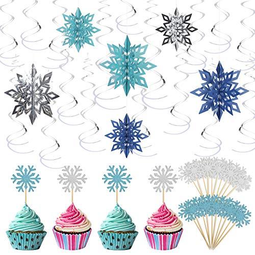 LANMOK 24 STK 3D Weihnachten Schneeflocken, Blau Schneeflockendeko Spiralen Anhänger Deko mit 20 pcs Schneeflocken Kuchenaufsätze EIS Cupcake Topper Deko für Eiskönigin Party Kinder Geburtstag