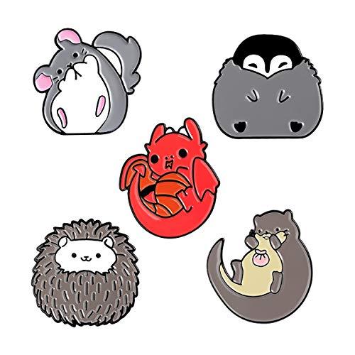 FIZZENN 5 Stück Karikatur-Art-Emaille-Pin-Revers-Brosche Penguin Totoro Hedgehog Pin für Kleidung Beutel-Rucksack-Dekoration und Halloween Near-Jahr-Geschenk