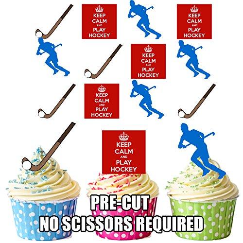 vorgeschnittenen Keep Calm and Field Hockey Mix–Essbare Cupcake Topper/Kuchen Dekorationen (12Stück)
