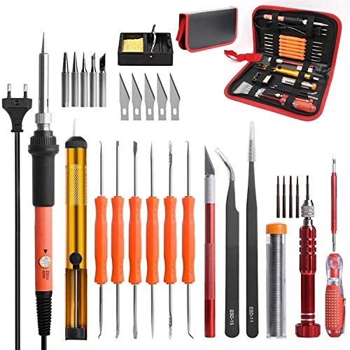 Buy No-branded EU Plug 220V 60W Electric Soldering Iron Kit Screwdriver Tweezers Tin Wire Desolderin...