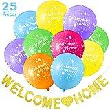 Juego de Decoración de Welcome Home 25 Piezas incluye 24 Globos Tropicales de Welcome Home y Guirnalda de Banderines Brillantes para Decoración de Casa Materiales de Fiesta