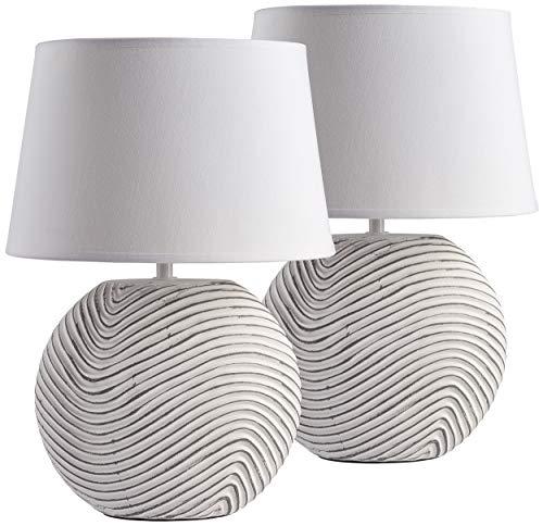 BRUBAKER 2er Set Tisch- oder Nachttischlampen Weiß Keramikfüße in zweifarbigem, mattem Finish - 38 cm Höhe, Weiß/grau