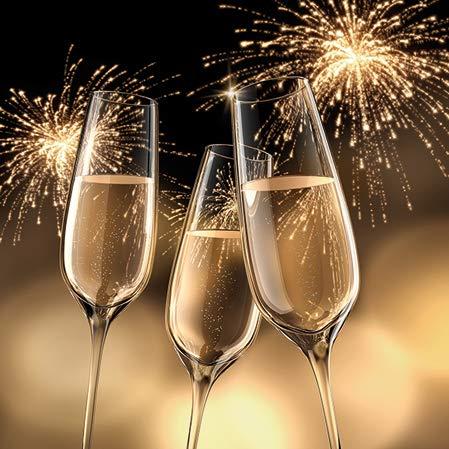 Miss Lovely Motiv-Servietten Silvester-Servietten Getränke-Servietten mit Sekt- / Prosecco-Gläsern Gold Cocktail-Größe Silvester-Deko Tisch-Dekoration Neujahr Jahres-Wechsel Bar-Zubehör 20 Servietten